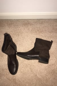 Brown leather with suede bootie 7 1/2  worn twice paid $95