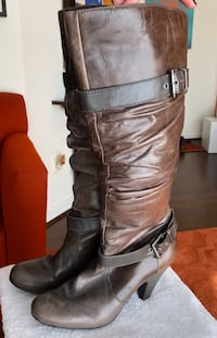 Designer Jessica Simpson Ruched all leather knee high boots- size 9 Herndon, 20171