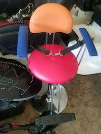red and black child barber chair