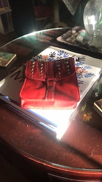 Red crossbody with silver chain