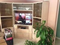 black flat screen TV with white wooden entertainment center Simi Valley, 93063