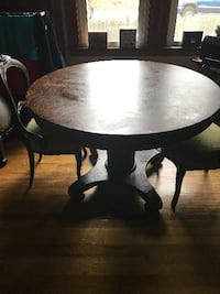 round brown wooden pedestal table 405 mi