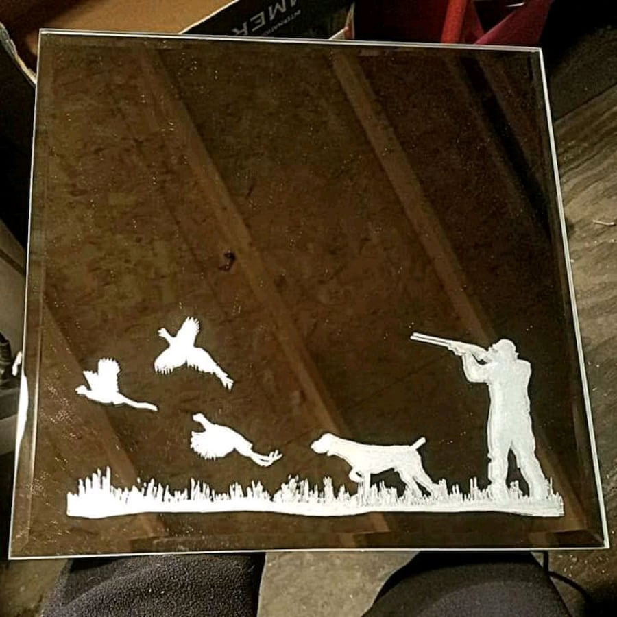 Etched mirror can add name for free as well
