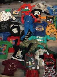 3t and some 4t boys clothing. 5 sets of pyjamas and many shirts all gently used and in good condition. PJ Masks Mickey Mouse Paw Patrol Disney's Cars Super Mario Bros pyjamas and clothes   St Catharines, L2N