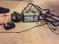 Motorcycle battery charger, spark plug cleaner and jumper cables  Joliet, 60586