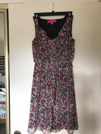 pink and black floral sleeveless mini dress