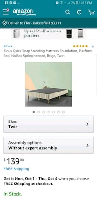 New in the box twin bed frame  Bakersfield, 93311