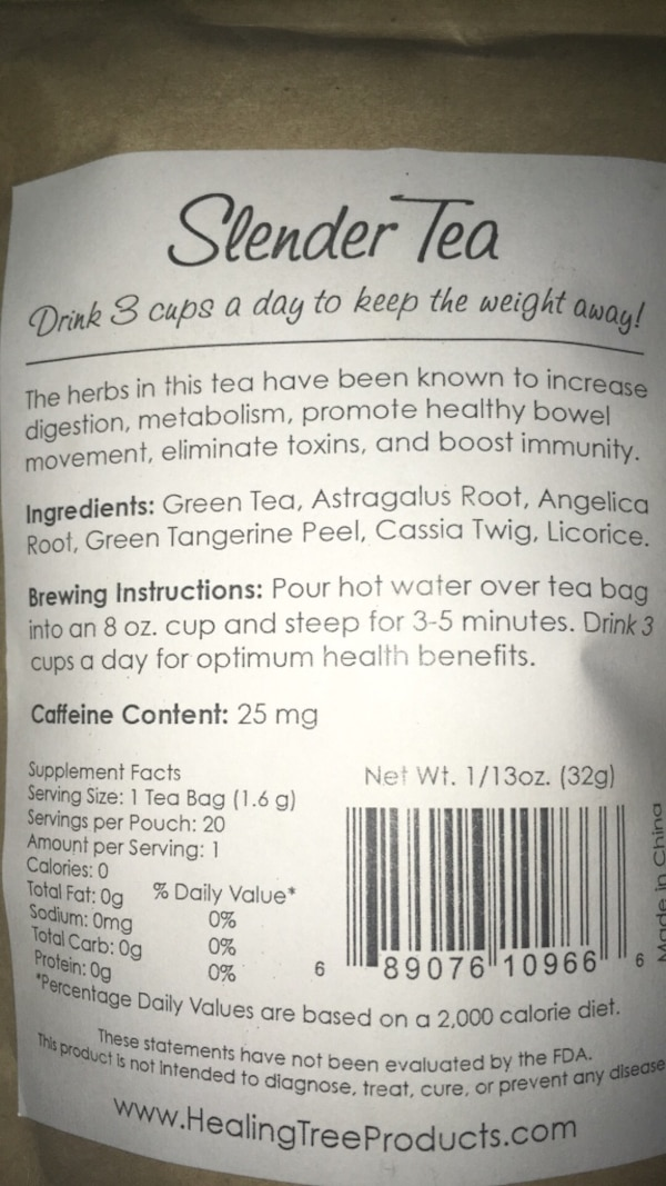 Slender tea bags for weight loss and metabolism  9152c989-a829-45f1-981c-0b5afe32e5be