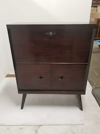 Vintage secretary cabinet on legs with interior light
