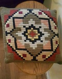 Vintage 1970s Goose Down Hand Knit Sewn Pillow  New York