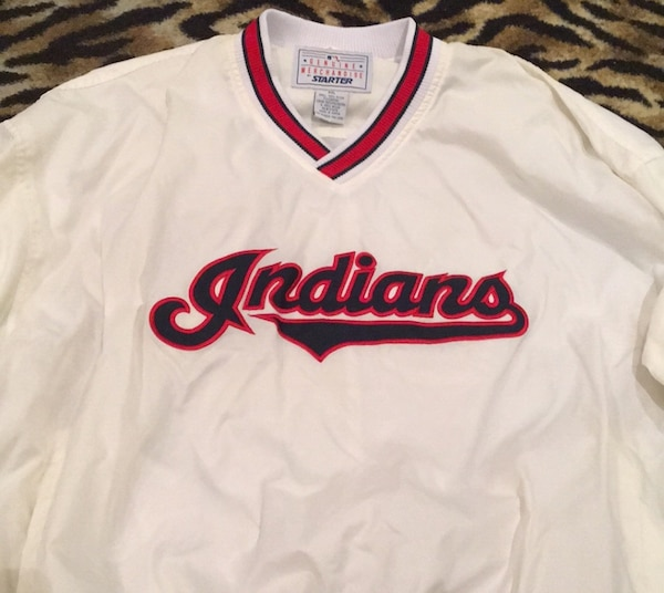 buy online dd6f7 68e02 Cleveland Indians Starter White Pullover XXL