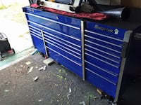 Blue and silver Snap-on tool cabinet