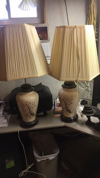 listed here are two beautiful handcrafted ceramic lamps both in working condition they still have the shiny lacquer finish to them $20.00 Woodbury, 08096