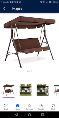 2-Person Large Convertible Canopy Swing w/removable cushions brown-new