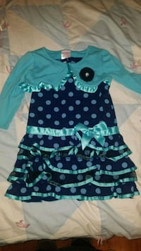 Blue polka dot dress and sweater Tracy, 95377