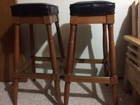 Dark wood and leather bar stools