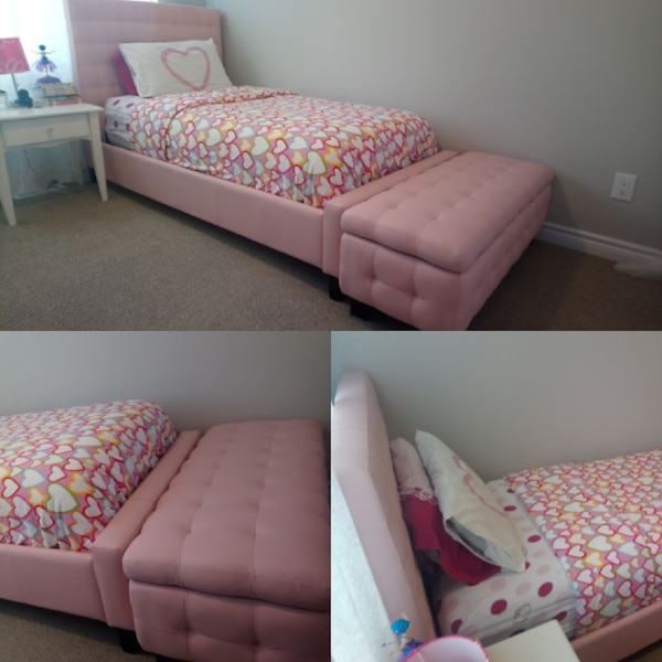 Pink Leather Twin Bed With Storage Ottoman