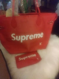 red Supreme leather tote bag