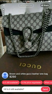 black and gray Gucci leather tote bag Mississauga, L5T 2L8