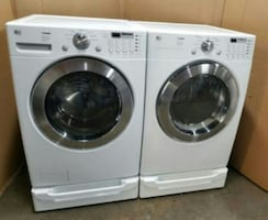 LG washer and dryer with pedestals include
