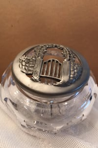 Candy crystal dish with  Seagull pewter cover 1990 Toronto, M8Y 1N6