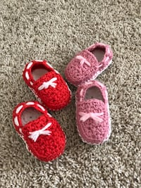 red and pink sperry shoes