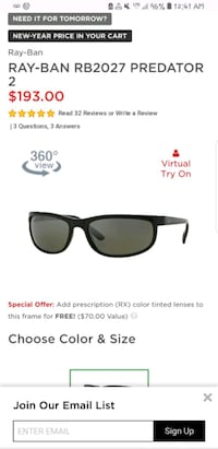 black framed Ray-Ban wayfarer sunglasses screenshot Clinton, 20735