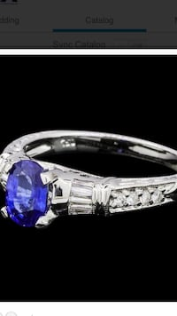 1.23ctw Sapphire and Diamond ring 18K white gold Chicago, 60605