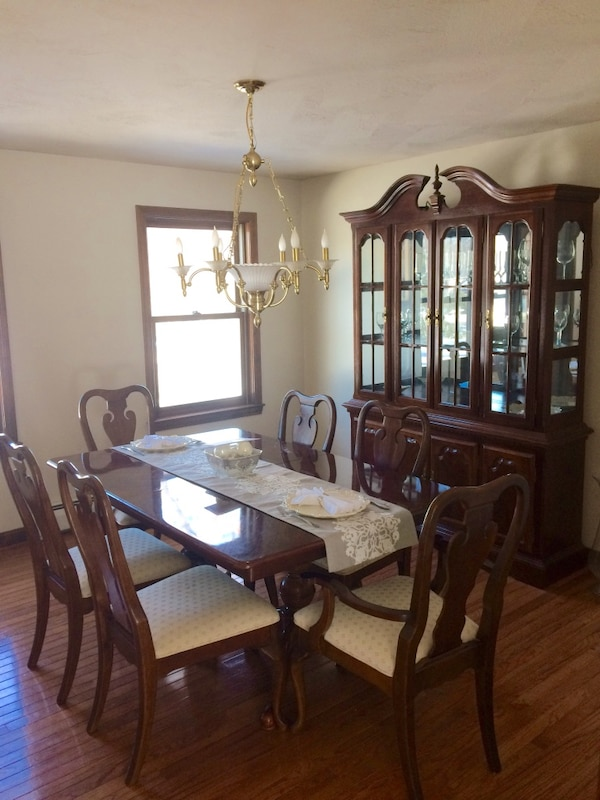 Used Colonial Dining Room Set With Hutch Cherry Table Extends For Sale In Carlisle