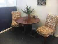 round brown wooden table with two chairs Los Angeles, 91423