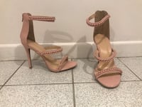 Pair of new light pink leather open-toe ankle strap heels size 6 (Charlotte russe) Terrebonne, J6V 1E3