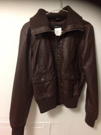 Black leather zip-up jacket medium