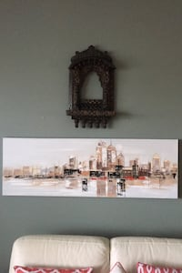 Contemporary picture painting of a city skyline from structube Edmonton, T6X 0J7