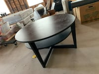 Round cofee table black wood