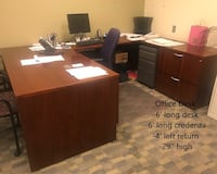 Executive Desk with Middle Return and credenza Towson, 21204