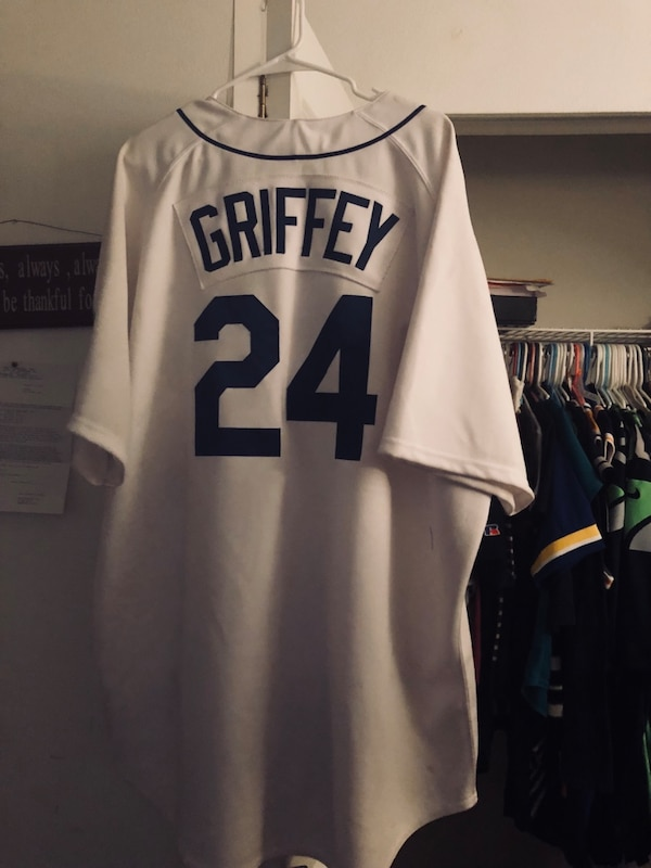 quality design 63e05 6d399 White and blue Seattle Mariners Jersey
