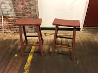 two brown wooden bar stools Hudson, 03051