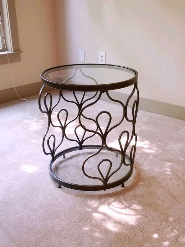 Admirable Elegant Glass And Metal End Table Home Interior And Landscaping Eliaenasavecom