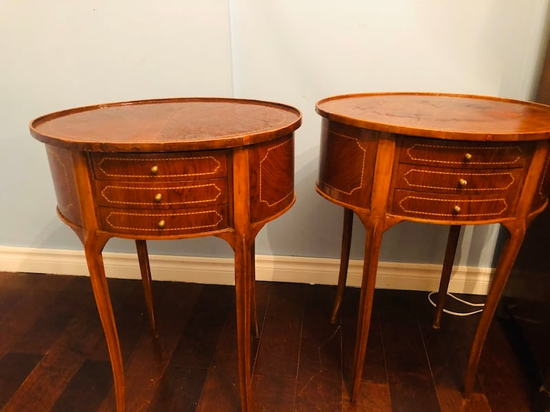 Two antique french oval night stand or side tables with drawers 16e67c25-d526-4b09-8ff9-b30eb80828e8