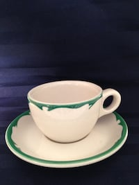 Antique Buffalo China restaurant ware - Green Crest Patten Cup and Saucer Bennington