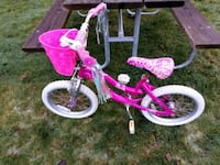 """Girl's 16"""" pink and white Barbie bicycle w/ basket Blaine"""