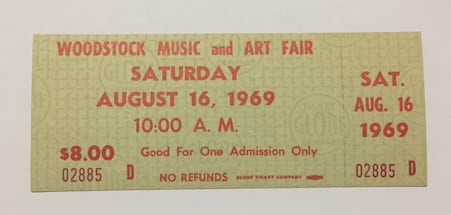 Authentic 1969 Woodstock Ticket - Will Ship Free