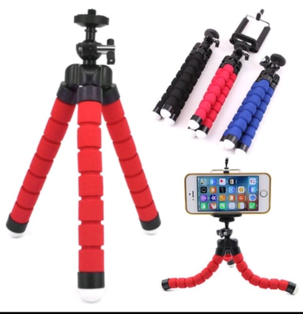 Spong Tripod with Phone Clip - Red 49006e32-0b80-4aa4-b18a-d007c74ea711