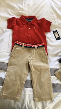 boy's red polo shirt and brown pants Oakley, 94561