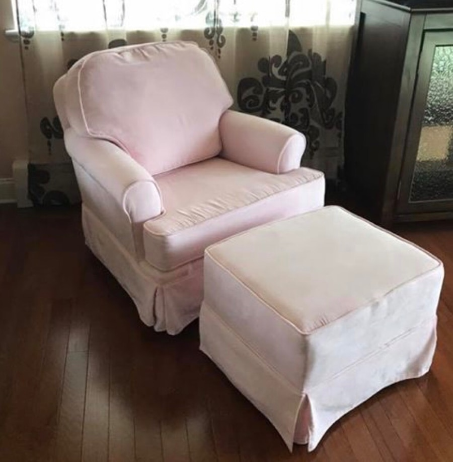 Used Upholstered Glider/Swivel Chair With Rocking Ottoman For Sale In New  York   Letgo