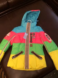 Blue red green and yellow zip hooded bubble jacket