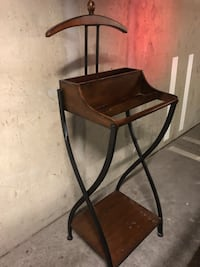 brown wooden chair with black metal base 伯纳比, V5H 0G9