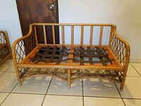 Bamboo style brown wooden double sofa frame  null