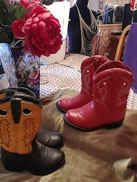 two pairs of leather cowboy boots Coeur d'Alene, 83814