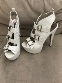 Pair of white leather open-toe heeled sandals Virginia Beach, 23456